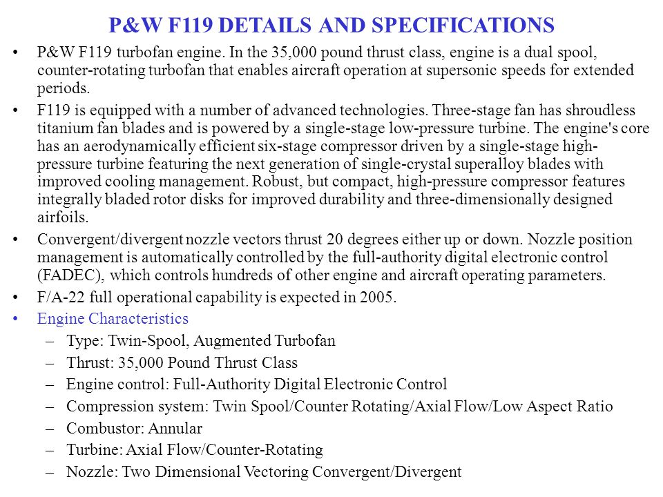 P&W F119 DETAILS AND SPECIFICATIONS