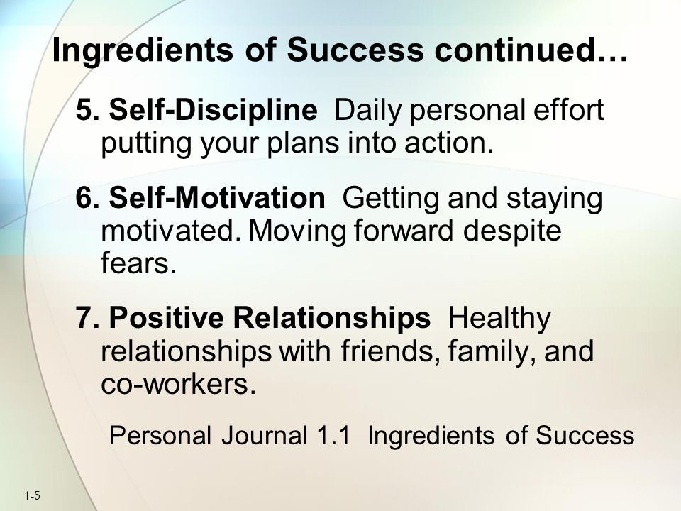 Ingredients of Success continued…