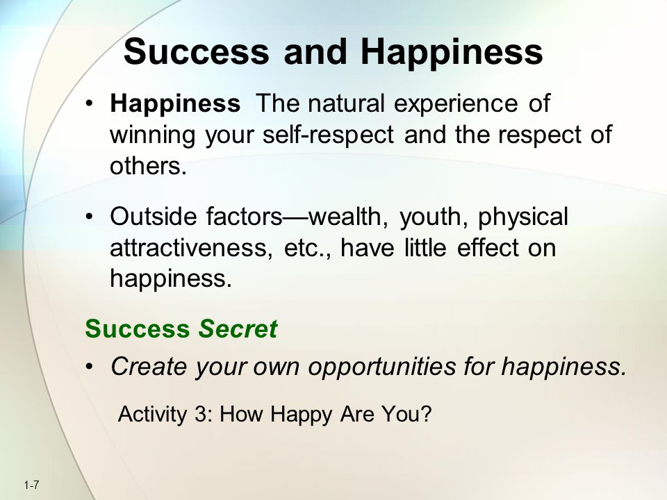 Success and Happiness Happiness The natural experience of winning your self-respect and the respect of others.