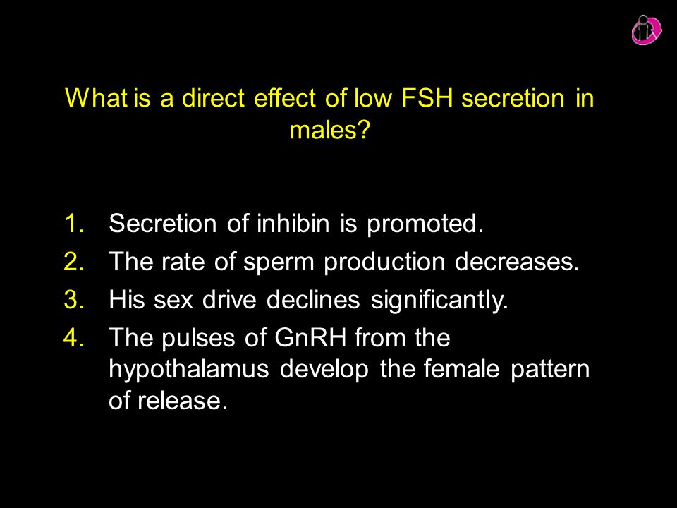 What is a direct effect of low FSH secretion in males