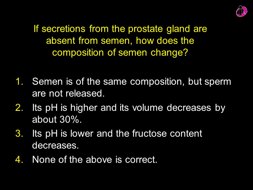 Semen is of the same composition, but sperm are not released.