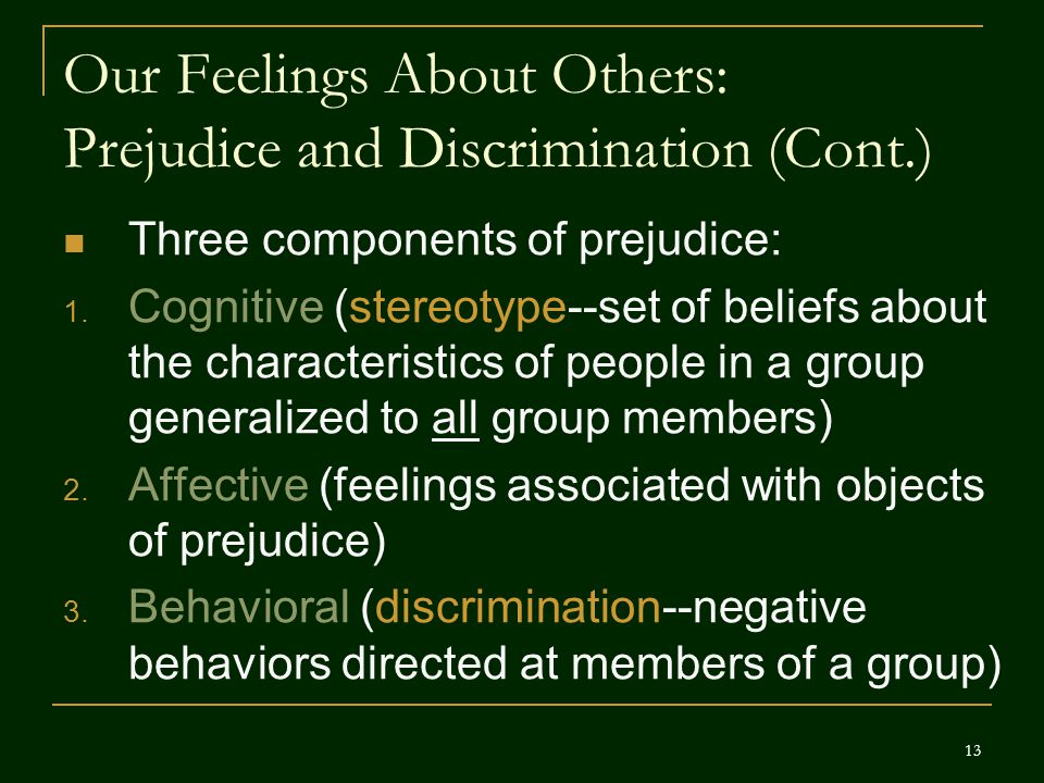 Our Feelings About Others: Prejudice and Discrimination (Cont.)
