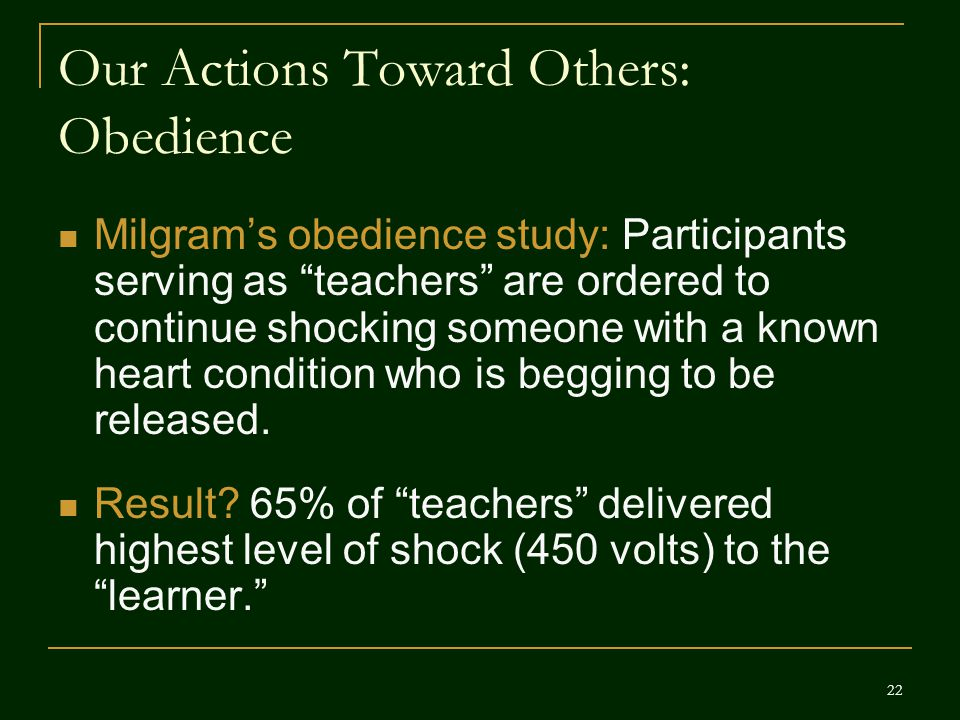 Our Actions Toward Others: Obedience
