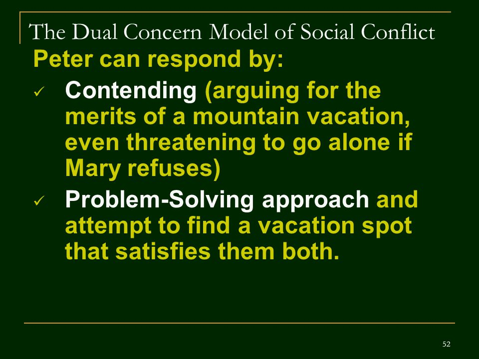 The Dual Concern Model of Social Conflict