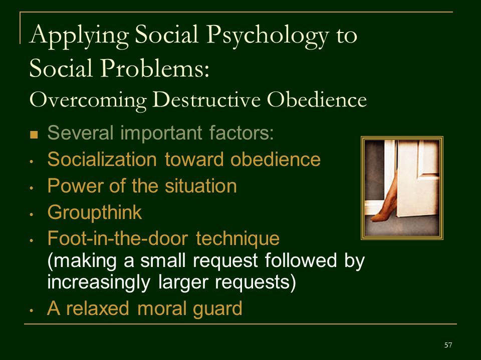 Applying Social Psychology to Social Problems: Overcoming Destructive Obedience