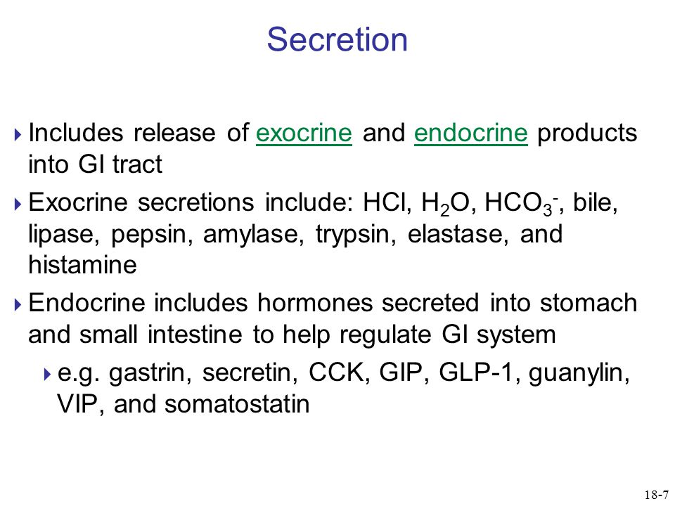 Secretion Includes release of exocrine and endocrine products into GI tract.