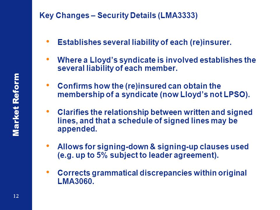 Key Changes – Security Details (LMA3333)