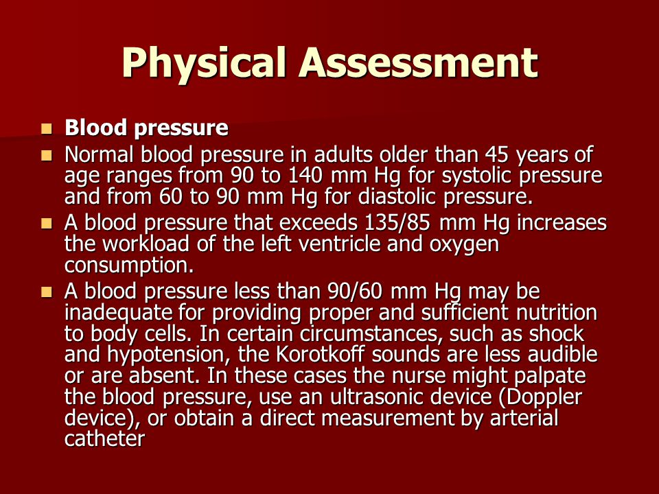 Physical Assessment Blood pressure