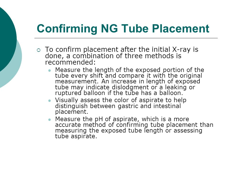 Confirming NG Tube Placement
