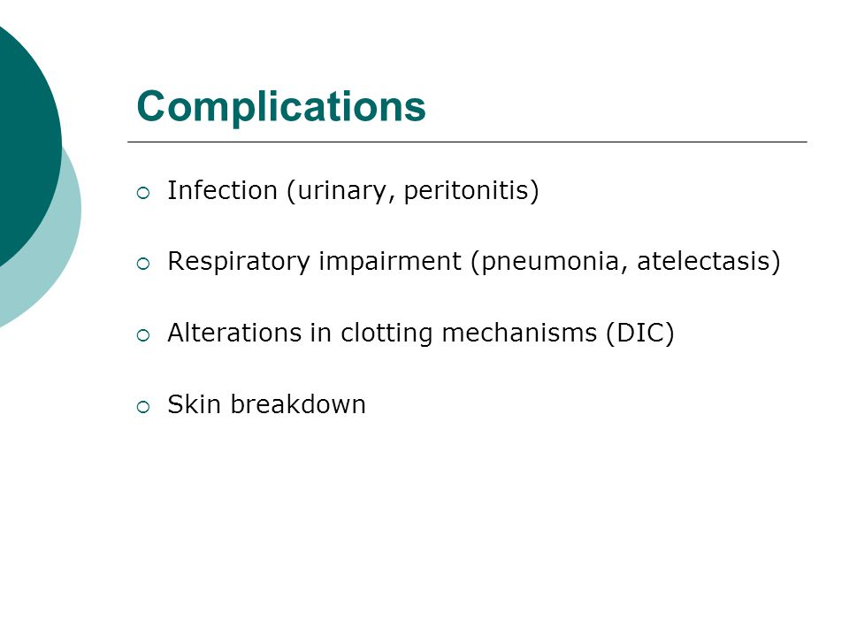 Complications Infection (urinary, peritonitis)