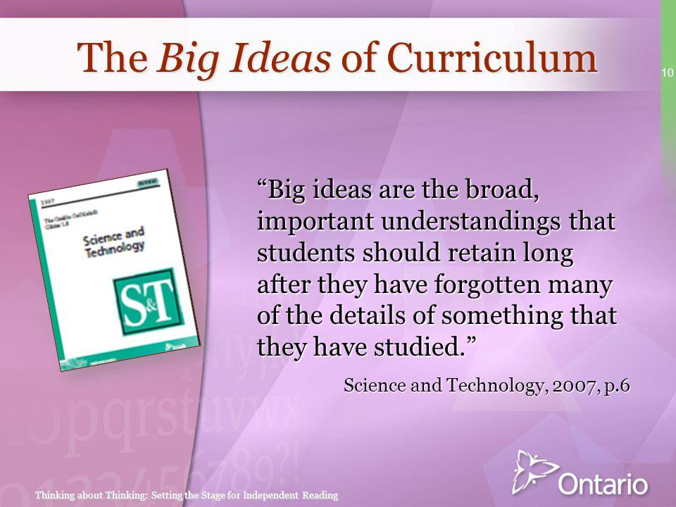 The Big Ideas of Curriculum