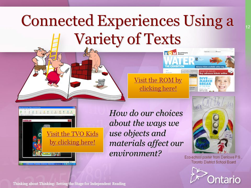Connected Experiences Using a Variety of Texts