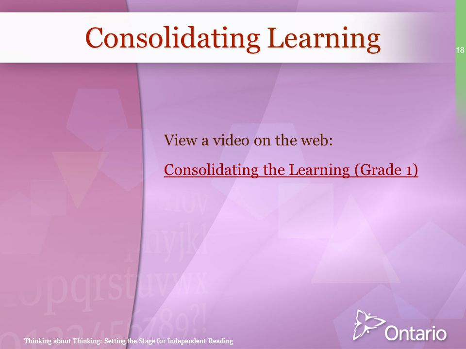 Consolidating Learning