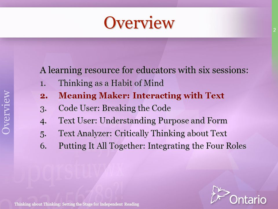 Overview Overview A learning resource for educators with six sessions: