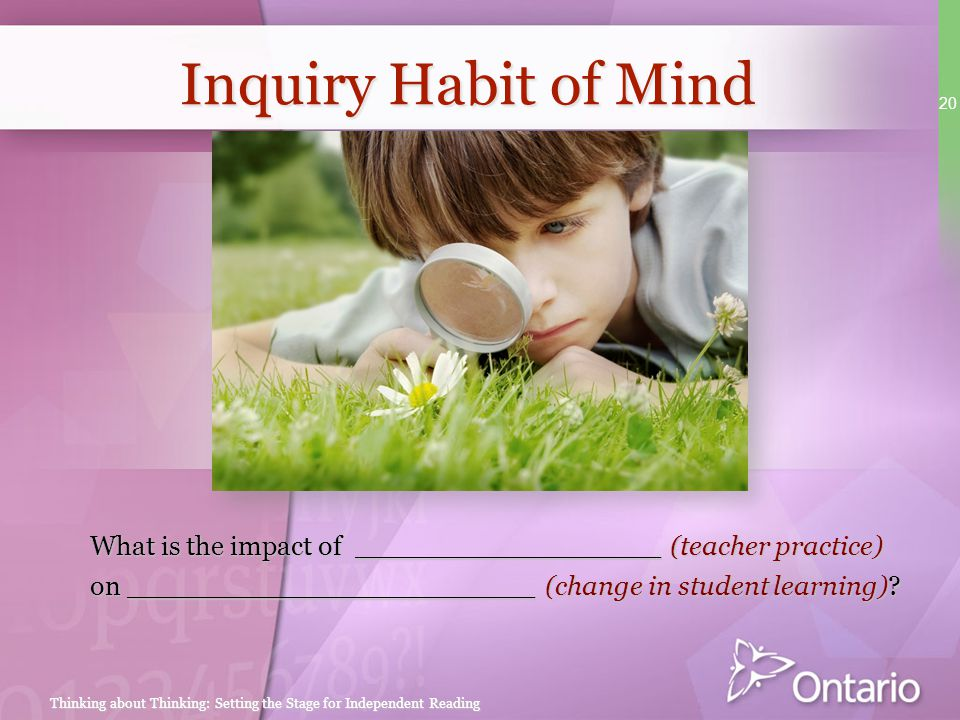 Inquiry Habit of Mind SPEAKER NOTES. At the end of each session, there will be time for participants to plan a next step in their classrooms.