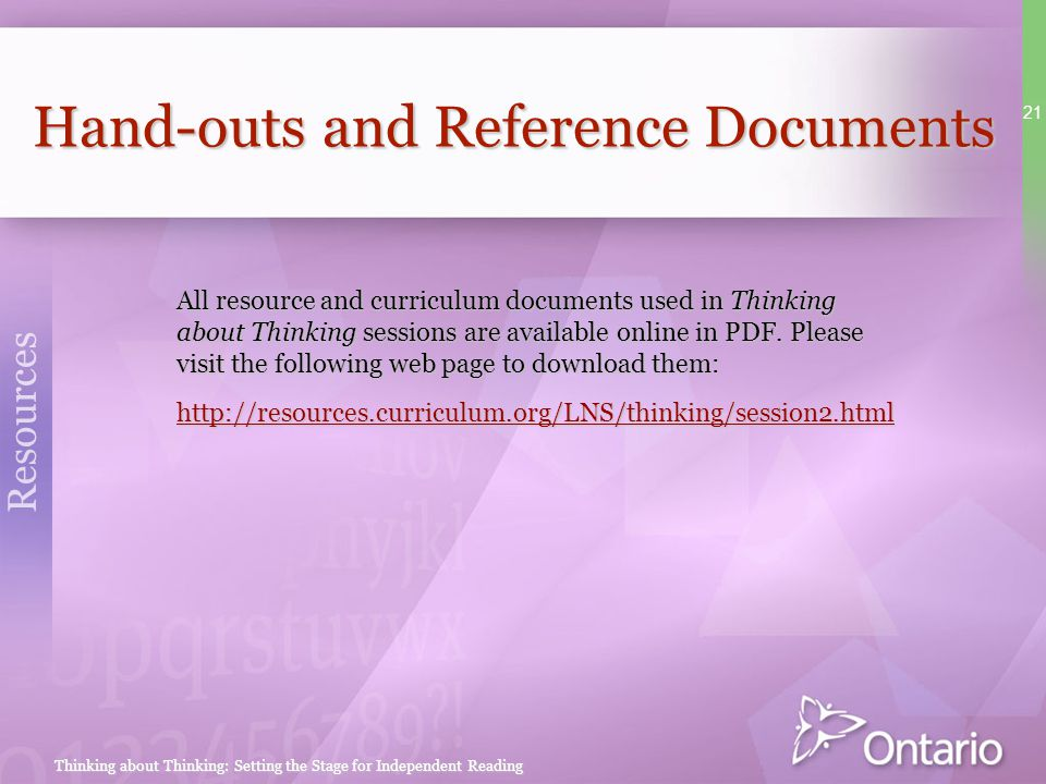 Hand-outs and Reference Documents