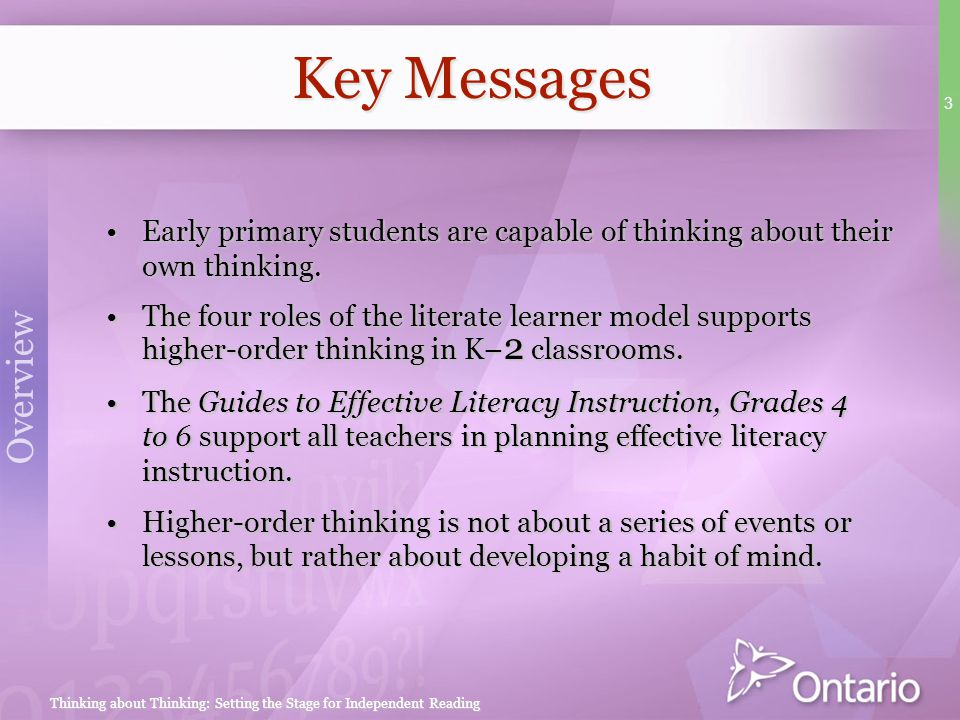 Key Messages Early primary students are capable of thinking about their own thinking.
