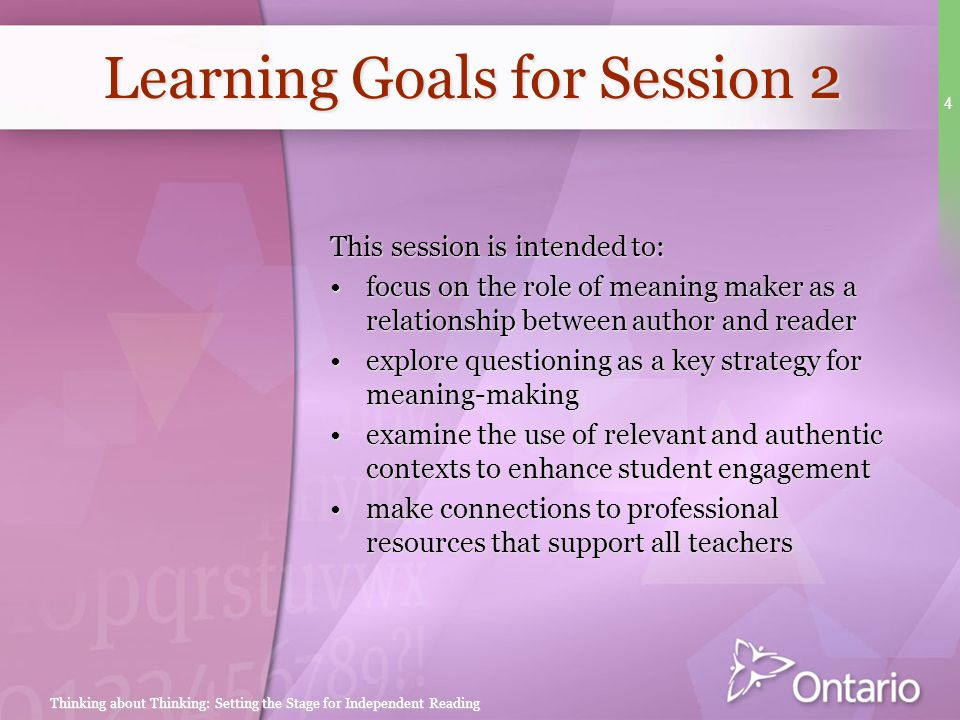 Learning Goals for Session 2
