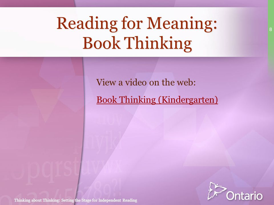 Reading for Meaning: Book Thinking