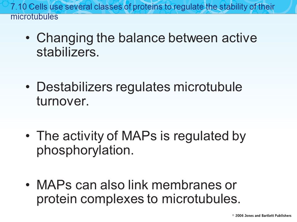 Changing the balance between active stabilizers.