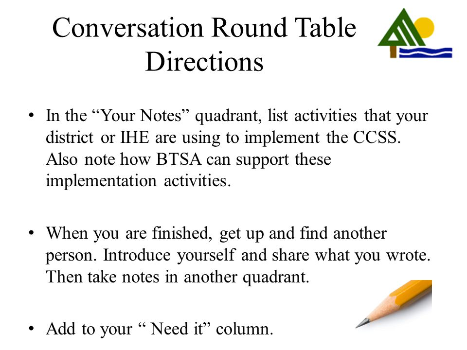 Conversation Round Table Directions