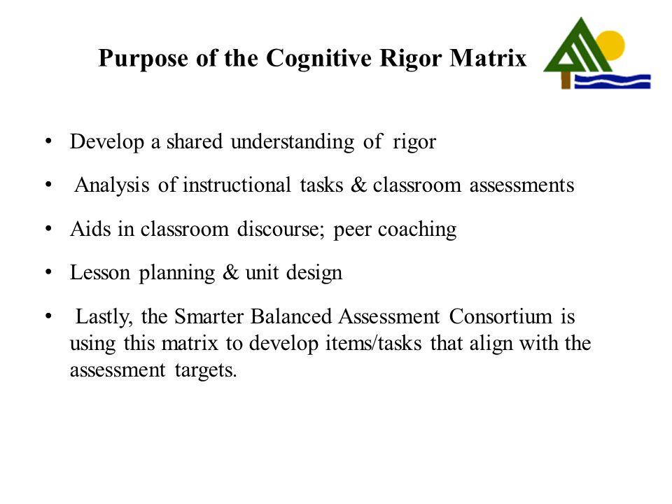 Purpose of the Cognitive Rigor Matrix
