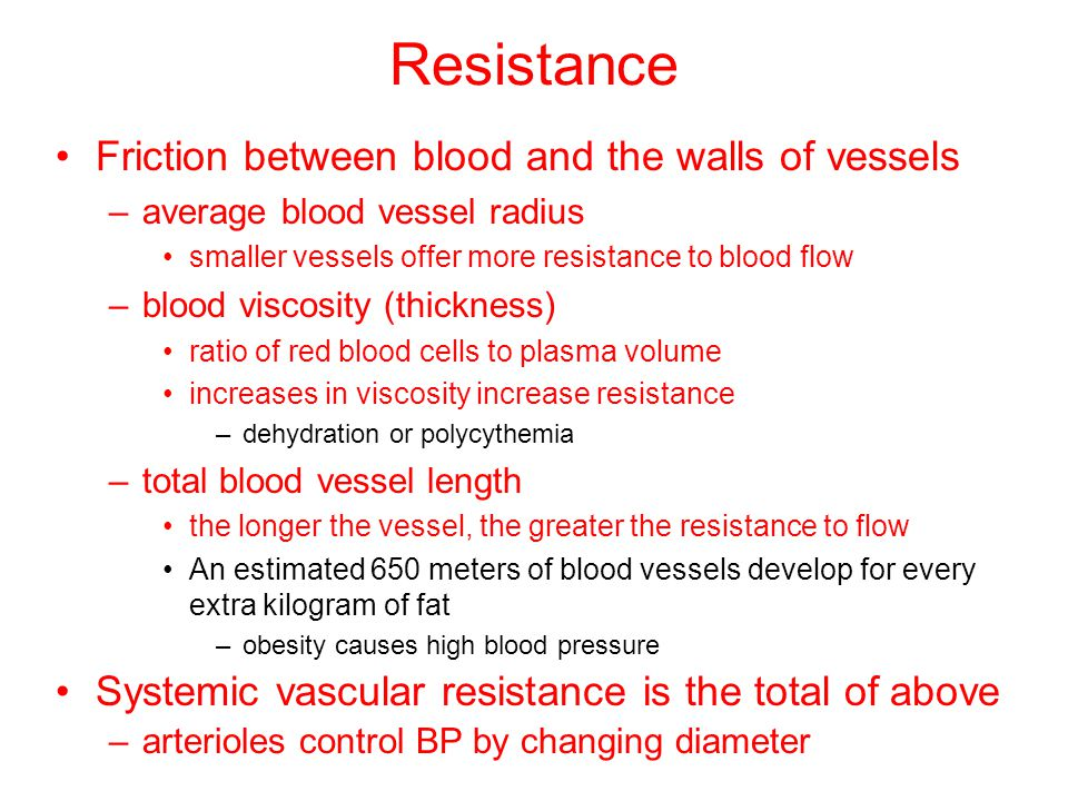Resistance Friction between blood and the walls of vessels