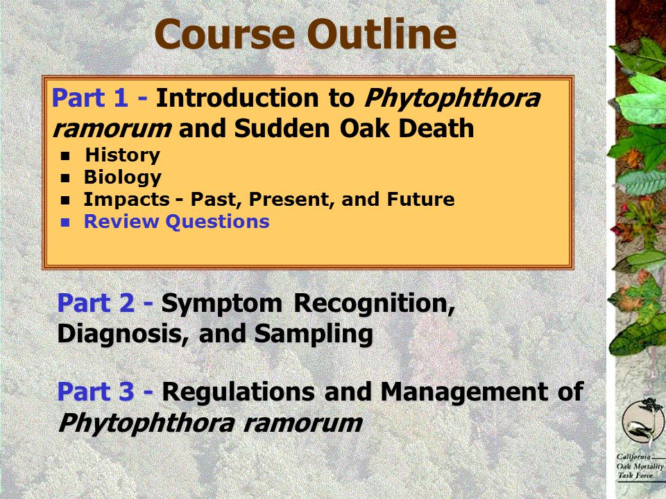 Course Outline Part 1 - Introduction to Phytophthora