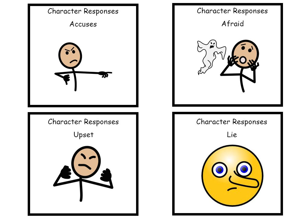 Character Responses Accuses. Character Responses. Afraid. Character Responses. Upset. Character Responses.