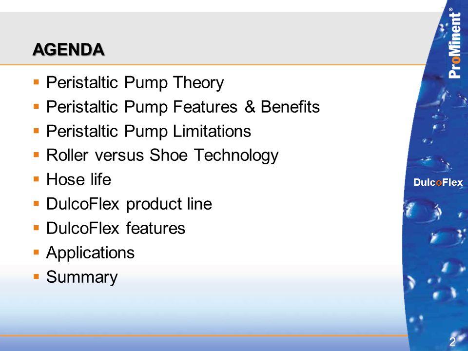 AGENDA Peristaltic Pump Theory. Peristaltic Pump Features & Benefits. Peristaltic Pump Limitations.