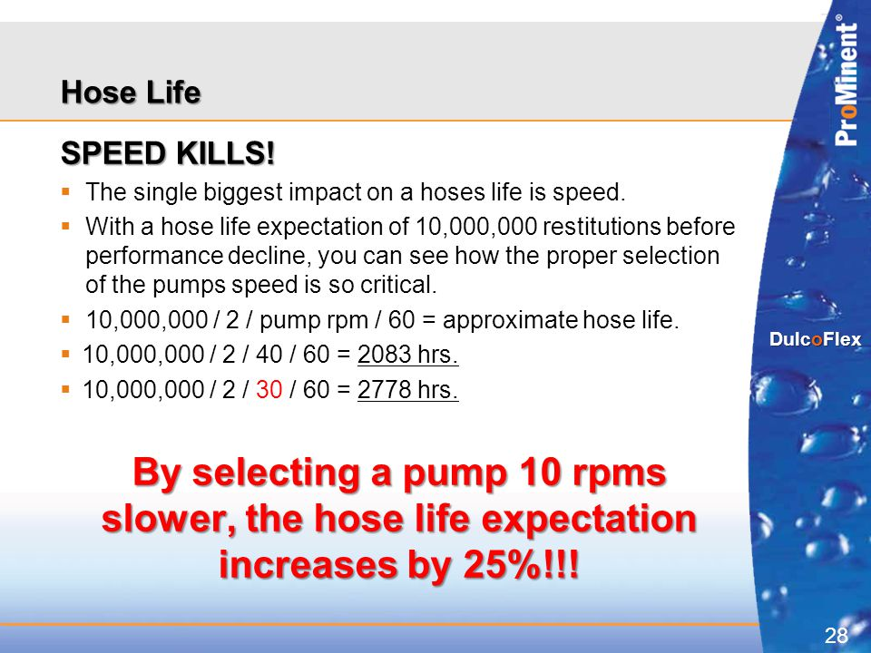 Hose Life SPEED KILLS! The single biggest impact on a hoses life is speed.