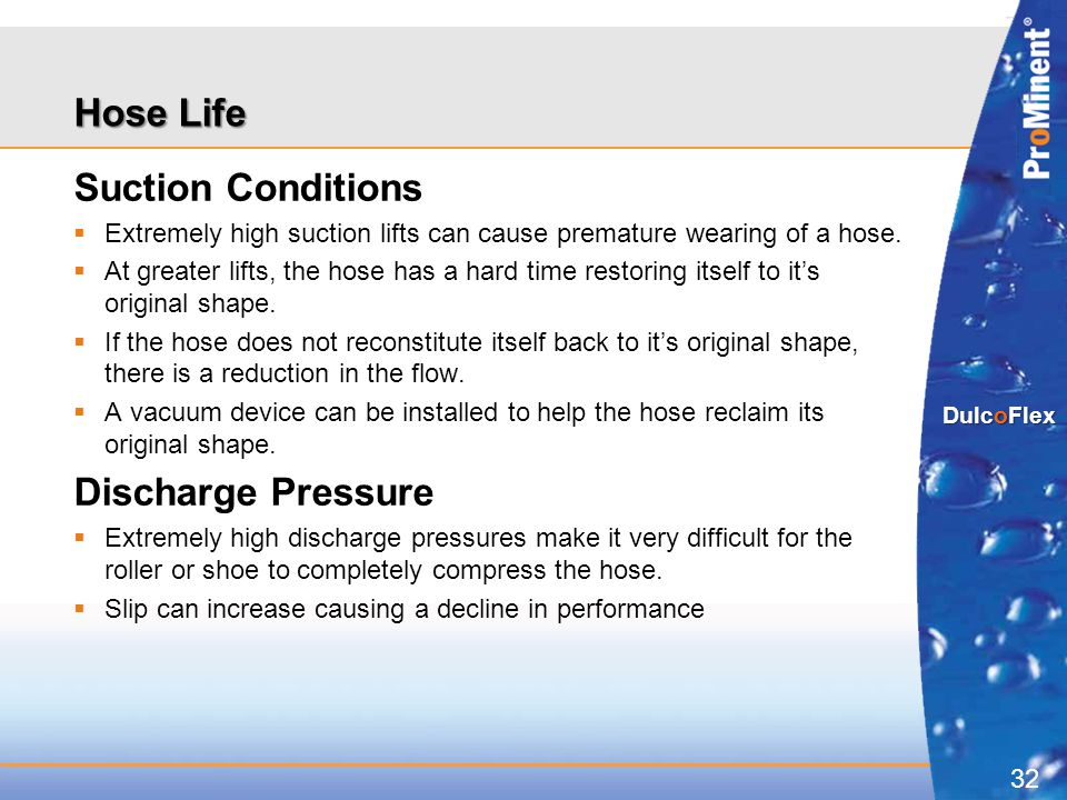 Hose Life Suction Conditions Discharge Pressure