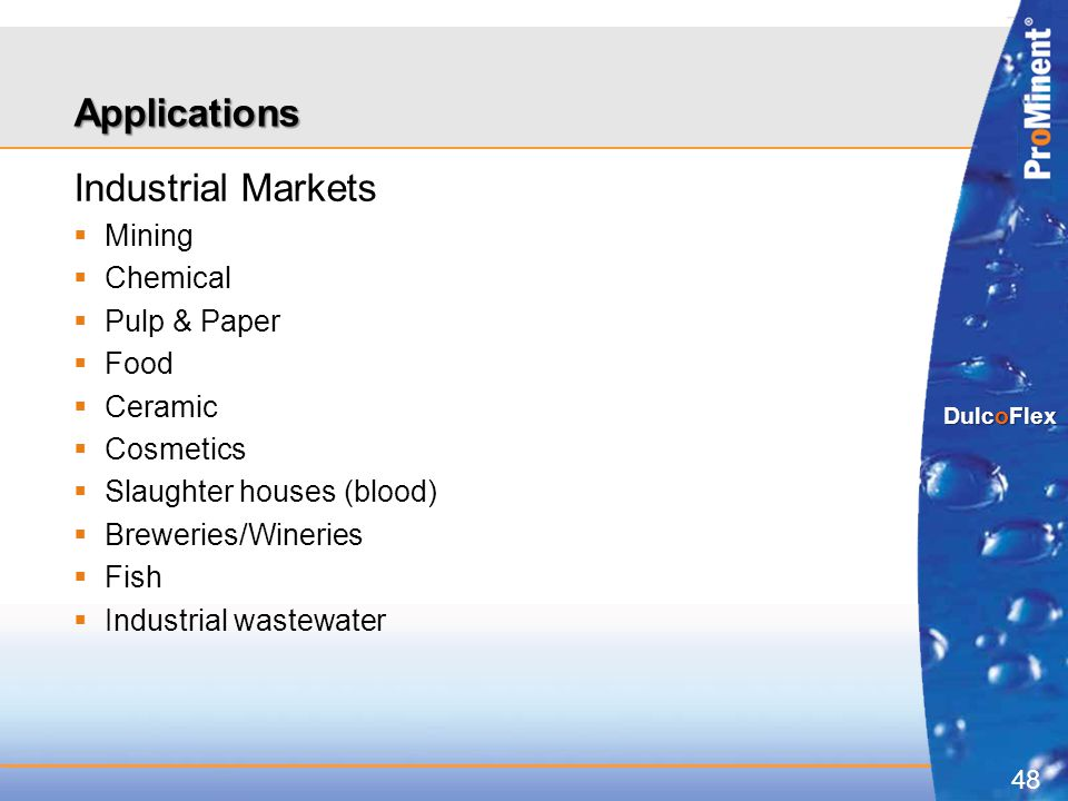 Applications Industrial Markets Mining Chemical Pulp & Paper Food