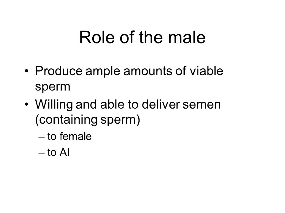 Role of the male Produce ample amounts of viable sperm