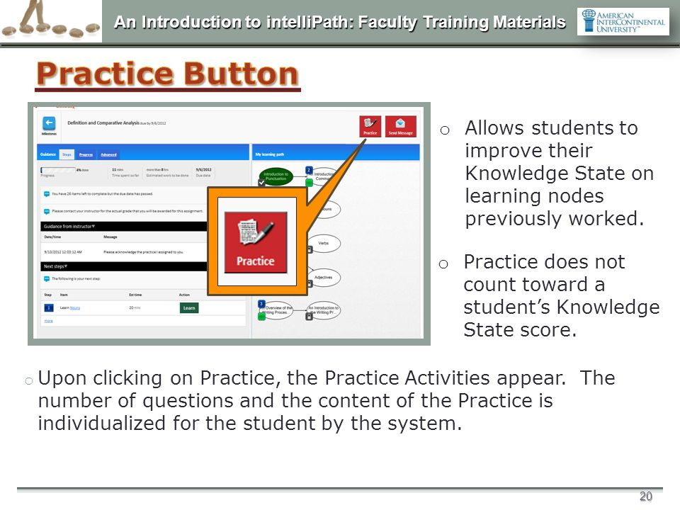 Practice Button Allows students to improve their Knowledge State on learning nodes previously worked.