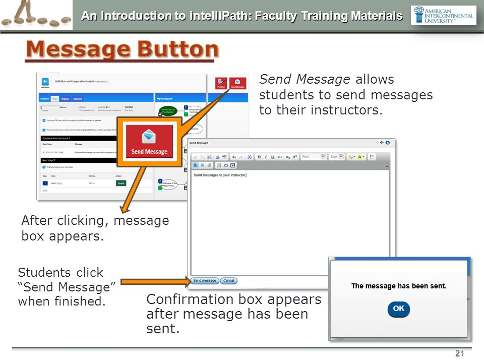 Message Button Confirmation box appears after message has been sent.