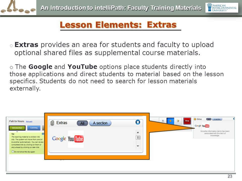 Lesson Elements: Extras
