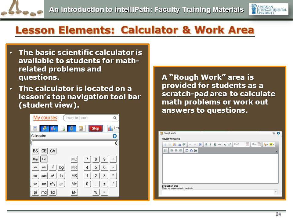 Lesson Elements: Calculator & Work Area D