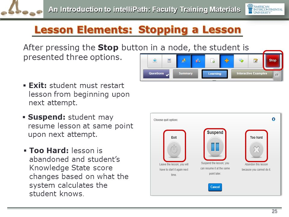 Lesson Elements: Stopping a Lesson