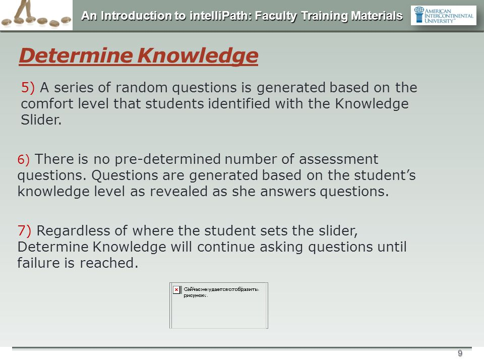 Determine Knowledge 5) A series of random questions is generated based on the comfort level that students identified with the Knowledge Slider.