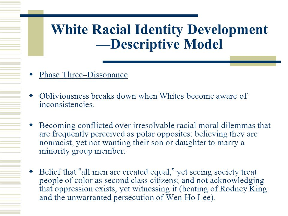 White Racial Identity Development —Descriptive Model