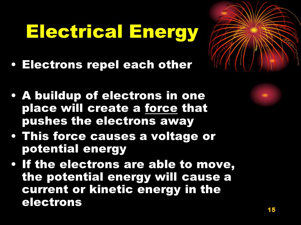 Electrical Energy Electrons repel each other