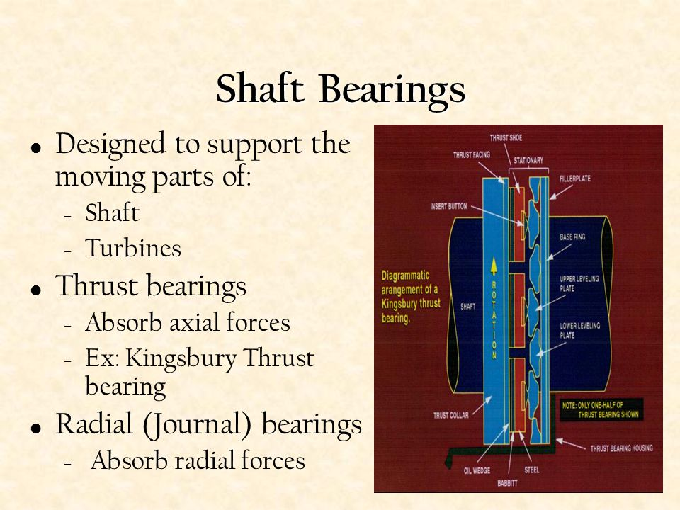 Shaft Bearings Designed to support the moving parts of:
