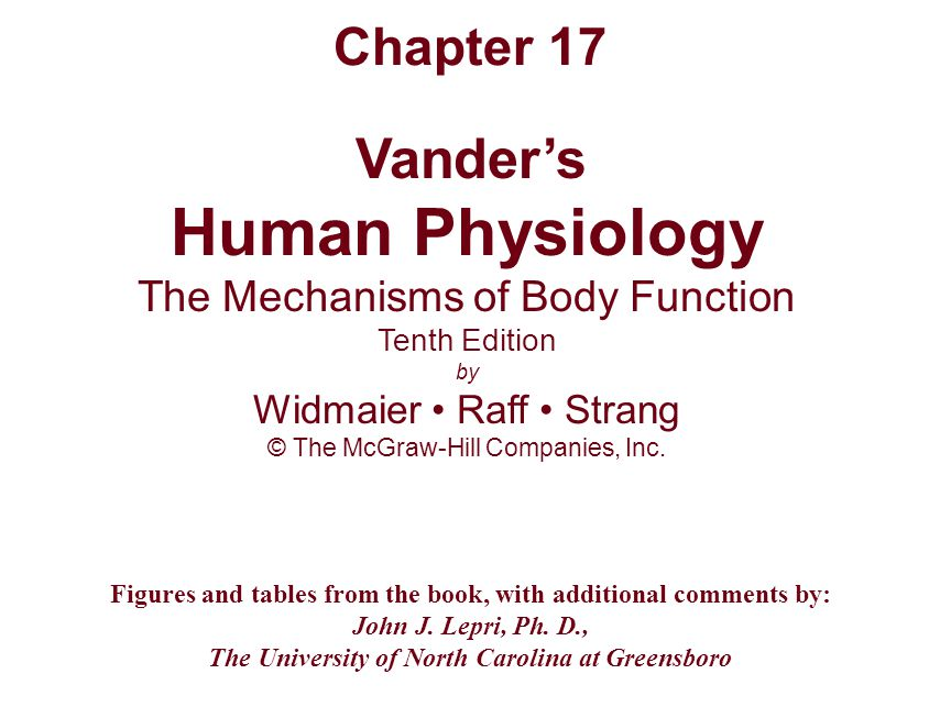 Human Physiology Chapter 17 The Mechanisms of Body Function