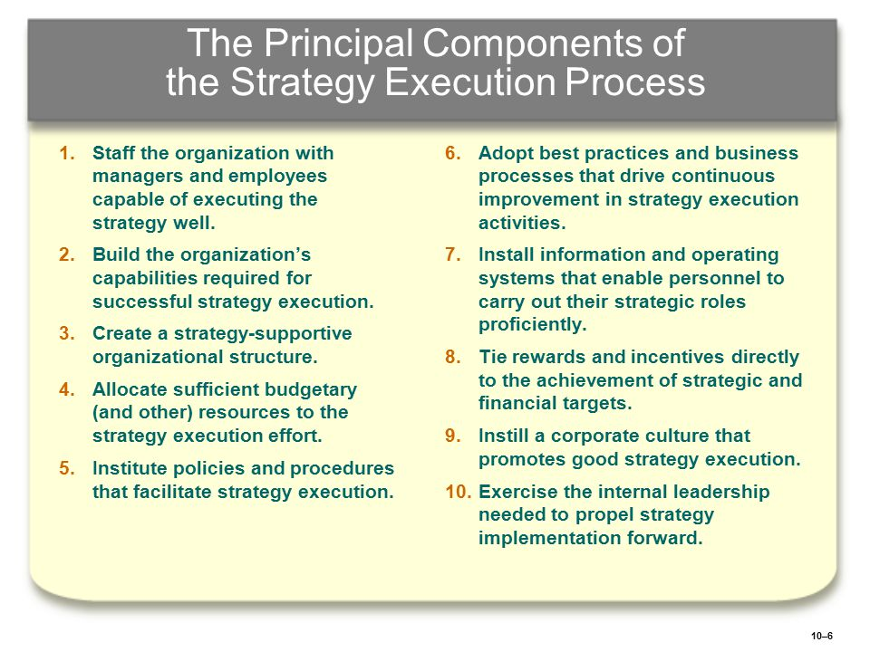 The Principal Components of the Strategy Execution Process