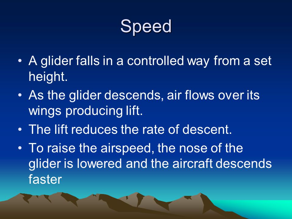 Speed A glider falls in a controlled way from a set height.