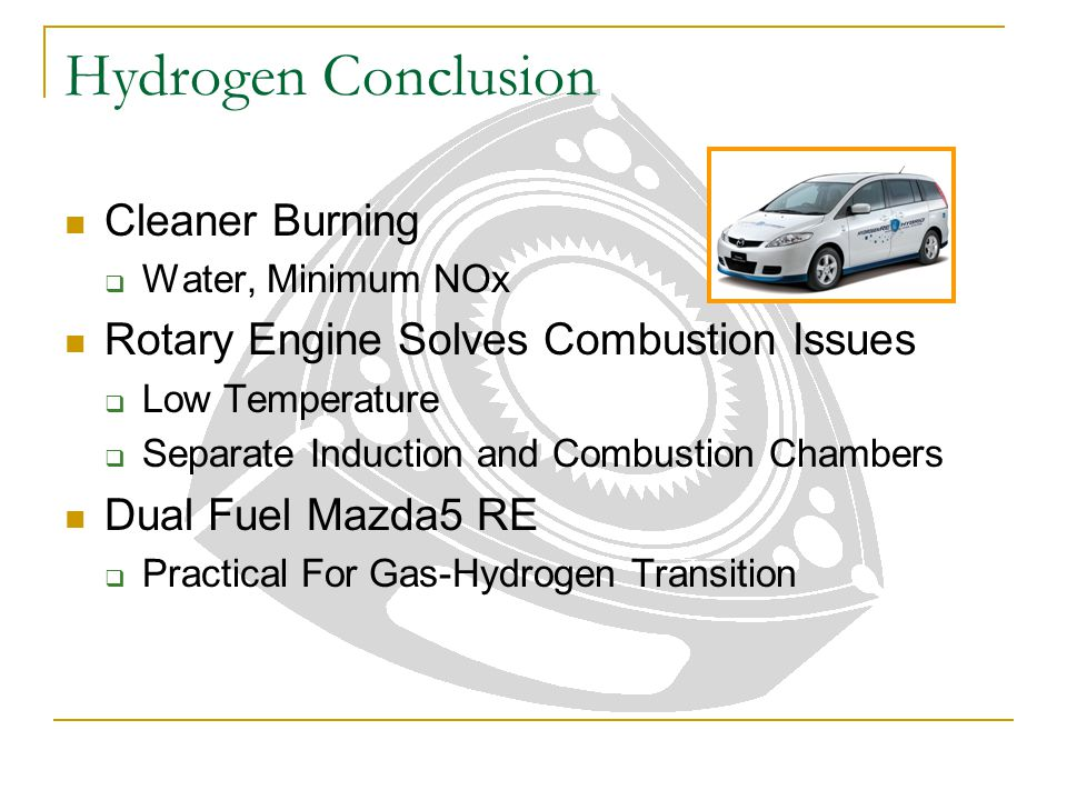 Hydrogen Conclusion Cleaner Burning