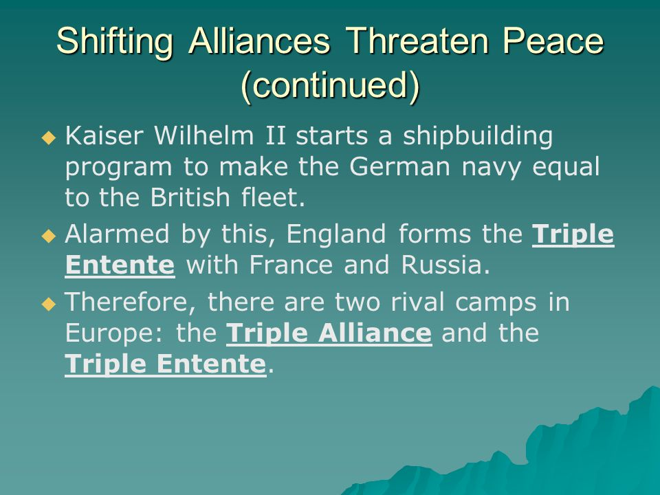Shifting Alliances Threaten Peace (continued)