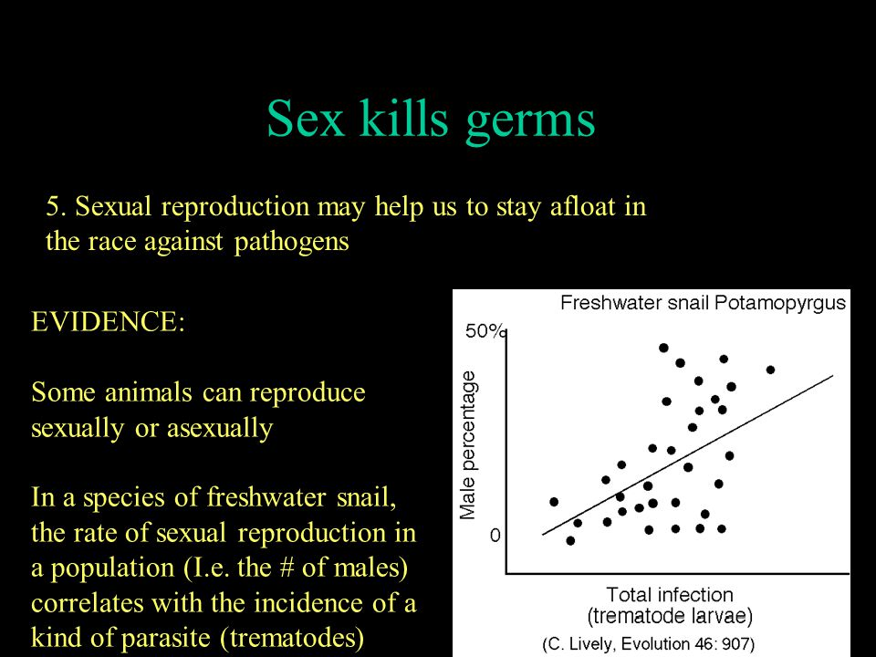 Sex kills germs 5. Sexual reproduction may help us to stay afloat in the race against pathogens. EVIDENCE: