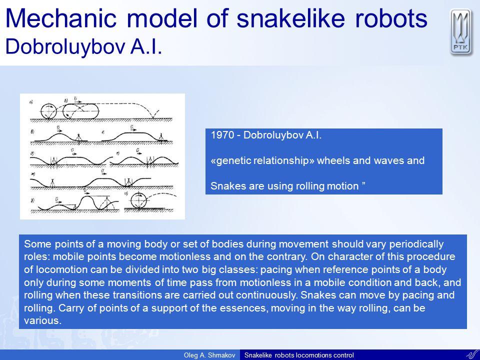 Mechanic model of snakelike robots Dobroluybov A.I.